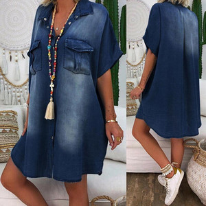 2021 New Autumn Womens Casual Denim Blouses Denim Loose Short Sleeve Turn-down Collar Oversized Party Dresses Plus Size
