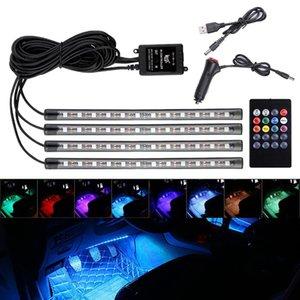 Auto LED RVB Atmosphère de l'atmosphère de l'atmosphère de l'atmosphère lumineuse Lampe de pied décoratif avec commande de musique distante sans fil USB plusieurs modes de voiture