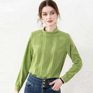 100% Silk Women's Shirt Stand Collar Long Sleeves Pleated Lace Patchwork Fashion Pullover Blouse Tops