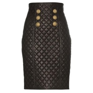 Skirts High End Tip Goods Latest Style Classic Lion Button Suture Ling Leather Zipper Bust Skirt Of Tall Waist
