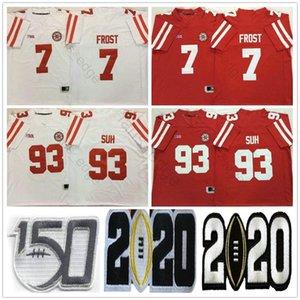 NCAA Nebraska Cornhuskers College # 7 Scott Gelo Jersey rosso bianco cucito # 93 Ndamukong Suh University Jerseys Jerseys Shirts S-XXXL