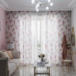 Curtain & Drapes Floral Sheer Curtains For Living Room Bedroom Kitchen Printed Tulle Door Fabric