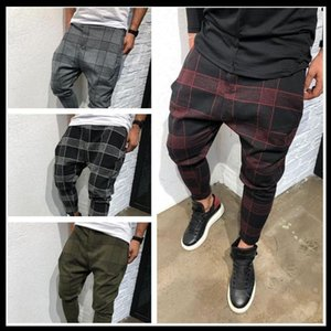 2021 Plaid Mens Casual Pants Stripe Square Printed Sweatpants Harem Pants Mens Winter Checkerboard Fashion Male Streetwear