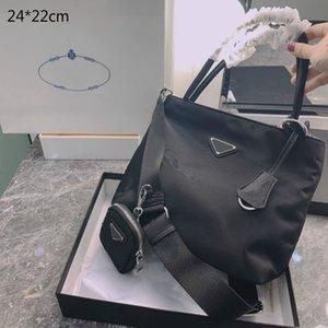 Fashion Women Black Briefcases Luxury Handbags Purses Designers Crossbody Shoulder Bags Nylon Lady Casual Totes Triangle Pattern PD21010601