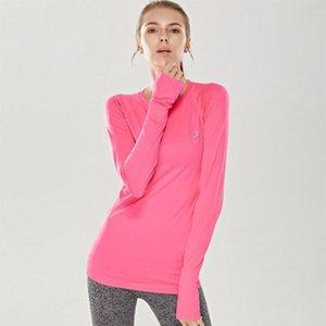 Vogue frauen shirts sport fitness einfarbig hohe elastik long sleeve atmungsaktives training training joggen shirts