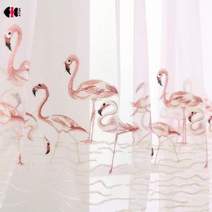 Curtain & Drapes Flamingo Embroidery Sheer Curtains For Living Room Pink Grey Swan Love Birds Voile Feather Romance Cafe Laundry