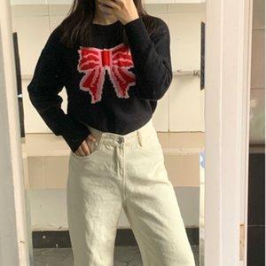 Ctrllock arc imprimé femme pull pull cavaliers vrac col rond tricotwear manches longues filles pulloverts noirs tops automne 2020