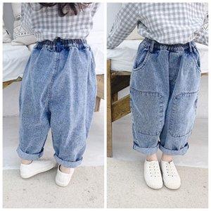 Printemps Nouveau Children's Jeans 2021 Enfants Casual Pantalon en denim solide en vrac coréen Big Poche Harem Pants pour garçons Filles Baby Trouses
