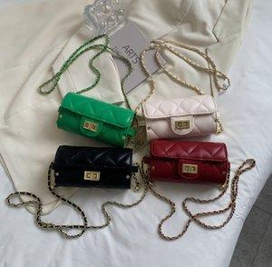 luxury children cylinder handbag lady style big kids metal chain princess bags women Diamond lattice one shoulder bag A7921
