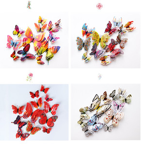 New 3D Double-layer simulation butterfly decoration wall stickers 12pc 3d butterflies 3d butterfly pvc removable wall stickers butterflys