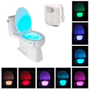 PIR استشعار الحركة المرحاض مقعد ضوء الليل 8 ألوان ماء الخلفية لغرفة الاستحمام بقيادة مصباح luminaria