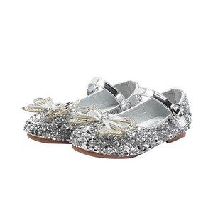 Girls Shoes 2021 New Kids Shoes Sequin Bowknot Children Shoes Princess Dress Shoe Girls Footwear Baby Shoe Boutique B3841