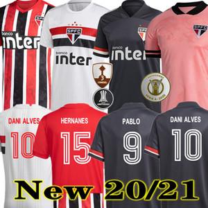 Dani Alves Pato 20 21 Сан-Паулу Джерси Третий выезд Черный красный футбол 2020 2021 Hernanes Club Home Белая футболка