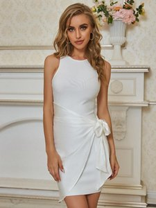 Summer Fashion Sexy Tank O Neck White Women Bodycon Bandage Dress 2021 Chic Lady Elegant Evening Elegant Party Dress