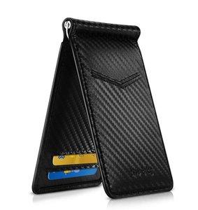 أسود الكربون الألياف المظهر المال كليب RFID حظر سائق معرف رخصة النقد