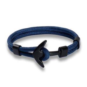 Eif doca doca quente moda cor preta âncora braceletes homens encanto sobrevivência corda cadeia paracord pulseira macho wrap metal spo jllpkr