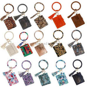 2021 Hot Designer Bag Wallet Leopard Print PU Leather Bracelet Keychain Credit Card Wallet Bangle Tassels Key Ring Handbag Lady
