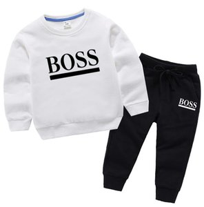 Children Baby Boys Girls Clothes Spring Autumn 100% Cotton Jacket Pants 2Pcs sets Out Kids Toddler Casual Clothing Tracksuits white black