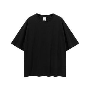 Düz siyah kadının boy t gömlek 100% pamuk erkekler kısa kollu hip hop omuz damla t-shirt nxcaps toptan