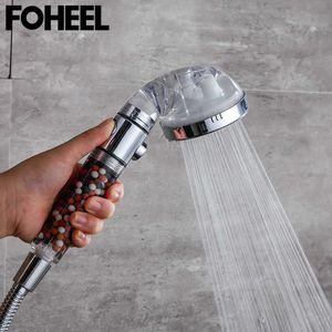 FOHEEL Shower Head Adjustable 3 Mode Hand High Pressure Water Saving One Button To Stop sH0916