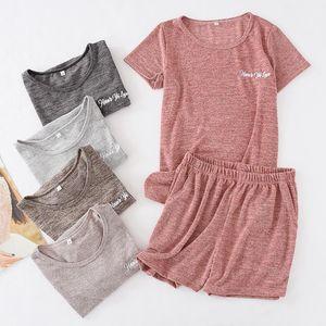 Summer Women Pajamas Cotton Slacker Casual Short-sleeved Shorts Sleepwear Solid Thin Pijamas Loungewear Plus Size Home Clothes
