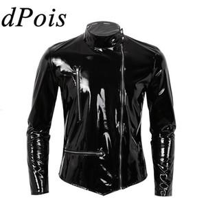 Dpois hombres cuero motocicleta chaqueta ciclista abrigo hombre látex caucho alto collar punk delgado fiesta club streetwear wetlook traje