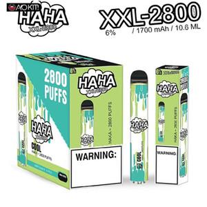 Colorful Haka XXL Disposable Pod Device 2800 Puffs 1700mAh 10.8ml Prefilled Vape Pen Stick Vapor Bar System 100% Original