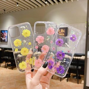Real Dried Flower Pressed Foil Soft TPU Cases For Iphone 13 Pro MAX 12 Mini 11 XR XS X 8 7 6 Plus Fashion Dry Chrysanthemum Stars Clear Transparent Back Cover Phone Skin