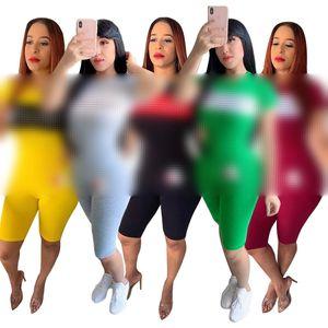 جديد أزياء المرأة ارتداء 2021 الصيف طباعة إلكتروني عارضة الرياضة قطعتين بدلة المرأة رياضية زائد الحجم S-2XL