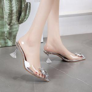Net rote spitze transparent sandalen weibliche sommer 2020 neues feld mit feiner strass sexy baotou l High Heels k9t7 #