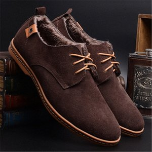 Merkmak New Leather Men Suede Shoes Mens Winter Warm Shoes Casual Footwear Moccasin Mens Loafers Formal Flat Q3YG#