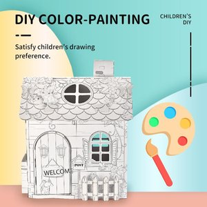 Kids Hand-Painted Graffiti Assembly House DIY 3D Villa Paper Assembled House Educational Interactive Painting Puzzle Game Toy Gift