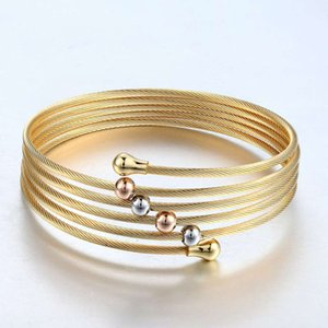 New Gold Colour Twist Wire Mesh Hand Bangle Multilayer Charm Bracelets Pulseiras Fashion Jewelry For Women Bijoux