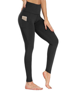 Novos calças de yoga de bolso grâmico Calças de ioga de cintura alta para mulher barriga Controle mulheres leggings com bolso