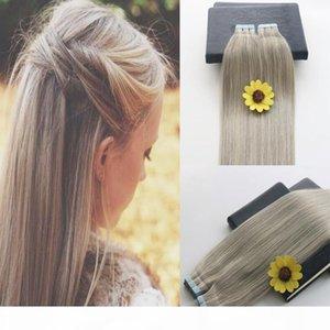 인간의 머리카락에서 테이프 40pcs pgrey 613 피아노 색 금발 브라질 머리 스킨 씨실 테이프 머리 확장 100g 이중 그려진 된 테이프