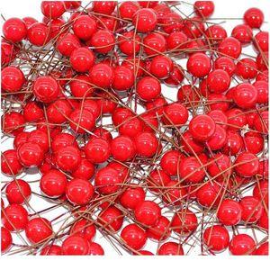 50pcs Mini Artificial Flower Red Cherry Stamen Berries Christmas Decoration Ornament Wedding Gift Box Wreaths Diy Craft jlloYj