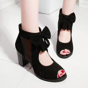 Fashion Bow Hollow Shoes Women Dresses For 2021 New Wedge Summer Sandals Heeled Shoes Female Ladies Black Size 35 36 37 38 39 40