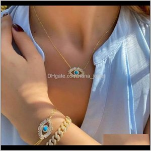 Trendy 18K Gold Plated Turkish Evil Eye Necklace Lucky Girl Gift Baguette Cubic Zirconia Turquoise Geomstone Top Quality Evil Eye Kzkz R2D5U
