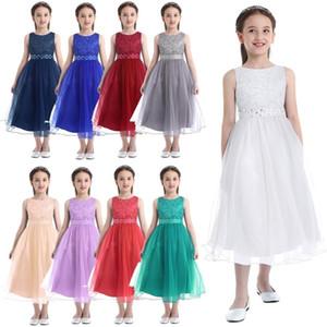 Vestido de la niña de la flor de los niños sin mangas con lentejuelas de malla de malla de malla para niños vestido de concurso de boda Primera comunión para niñas