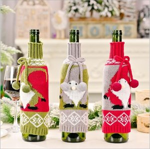 Christmas Decorations Bowknot Knitted Faceless Elderly Doll Red Wine Bottle Cover Table Decoration LLE9969