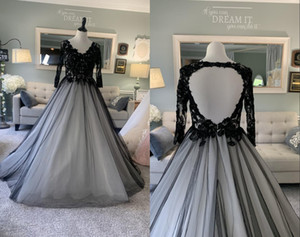 Sexy Black and White V neck Wedding Dresses Bridal Gown 2021 Long Sleeves Princess Keyhole Back Applique Court Train Tulle A line Cheap