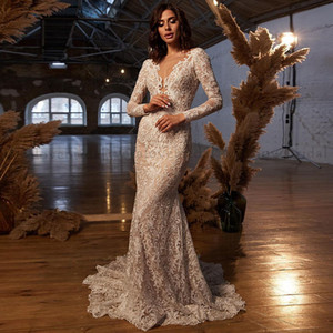 Vestido de Noiva Lace Mermaid Wedding Dress 2021 Sheer Neck Long Sleeves Backless Bridal Gown Robe de mariage