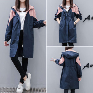 2021 new color matching trench coat women's middle length spring and autumn small fat mm waist hooded jacket fashion