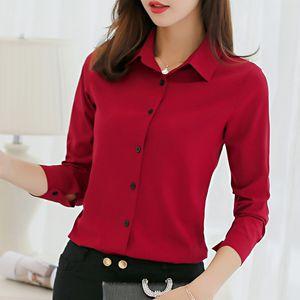 Biboyamall Blouse Bianco Bluve Delle Donne Chiffon Office Camicie Carriera Tops Moda Casual Manica lunga Camicette Femme Blusa 210305