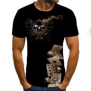 2021 hot men's playing card short sleeve fashion 3D digital printing hip hop men's casual T-shirt