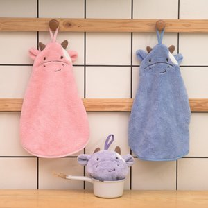 Cartoon calf coral wool absorbent hanging hand towel household kitchen toilet hand towel