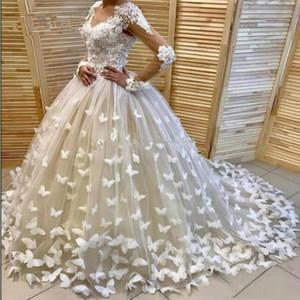 Flower Wedding Dresses Long Sleeves 3D Floral Appliqued Bridal Gown Elegant Custom Made Sweep Train Beach Robe De Mariée