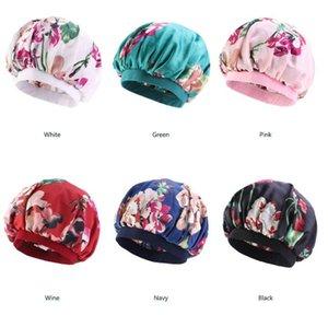 Nightcap Turban Floral 프린트 모자 머리는 터번 꽃 부드러운 편안한 모방 실크 패브릭 화학 요법 모자 새틴 보닛 OWD5050