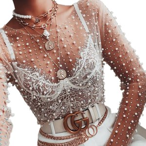 Women See Through Tops Sexy Transparent Sheer Bright Diamond Pearls Long-sleeved Mesh Tops Women Fashion Streetwear 2021