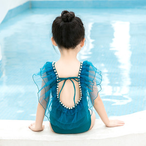 New sweet Baby Girls princess Swimsuit cute kids Ruffle Pearl Spa Swimsuits Children Back Bow Beach Bathing Suit B012